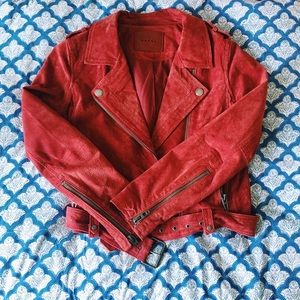 Blank NYC Red Suede Moto Jacket